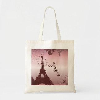 shabby chic girly paris pink eiffel tower tote bag
