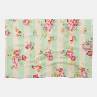 Shabby Chic Girly Red Green Roses Stripes Pattern Kitchen Towel