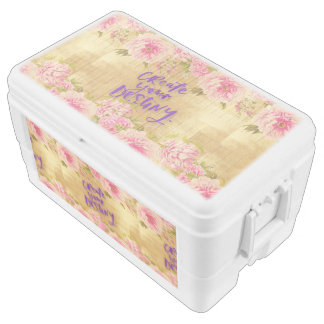 shabby chic.gold,roses,typography,create your dest chest cooler