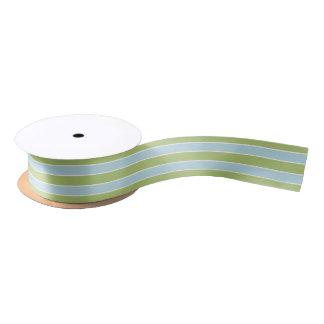 Shabby Chic Green & Blue Striped Satin Ribbon