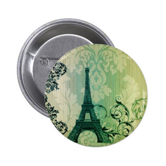 shabby chic green damask Paris Eiffel Tower Pinback Button