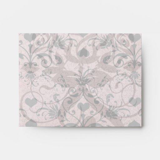 shabby chic grey heart swirl damask on grunge pink envelope