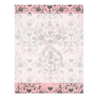 shabby chic grey heart swirl damask on grunge pink flyer