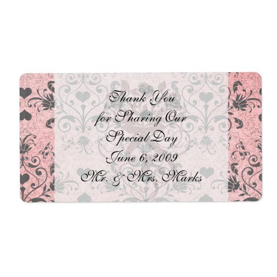 shabby chic grey heart swirl damask on grunge pink label