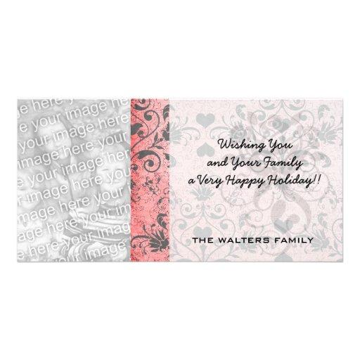 shabby chic grey heart swirl damask on grunge pink photo card template