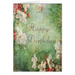 Shabby Chic Hibiscus Flowers Birthday Greeting Cards