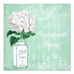 "Shabby Chic Jar & Hydrangea Bachelorette Party 5.25"" Square Invitation Card"