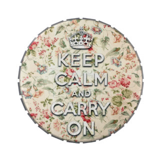 Shabby chic keep calm and carry on candy tin