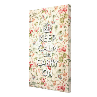 Shabby chic keep calm and carry on stretched canvas print