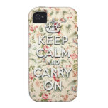 Shabby chic keep calm and carry on Case-Mate iPhone 4 cover