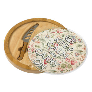 Shabby chic keep calm and carry on cheese board