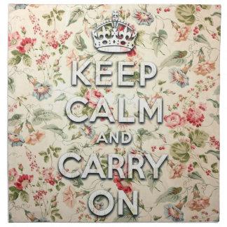 Shabby chic keep calm and carry on cloth napkin