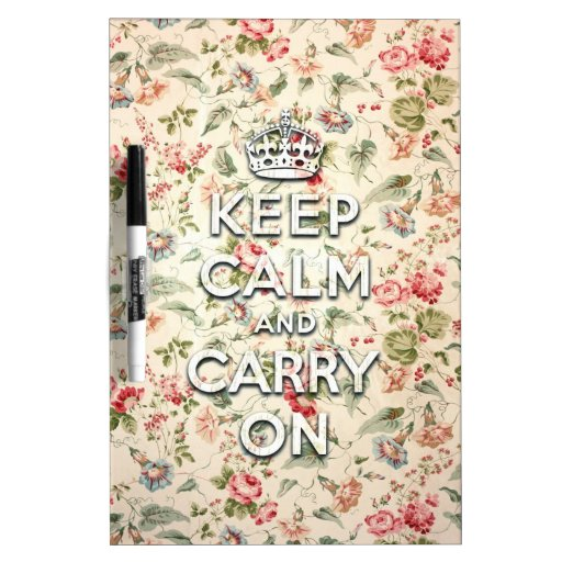 Shabby chic keep calm and carry on dry erase board