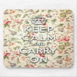 Shabby chic keep calm and carry on mousepads