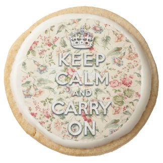 Shabby chic keep calm and carry on round shortbread cookie