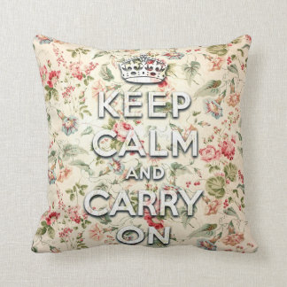 Shabby chic keep calm and carry on throw pillow