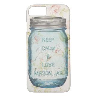 shabby chic Keep Calm and love mason jar iPhone 7 Case