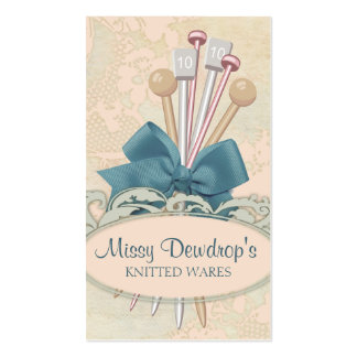 Shabby chic knitting needles bow lace business card