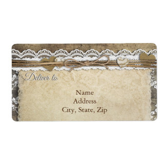 Shabby Chic Lace and Wood Address Label