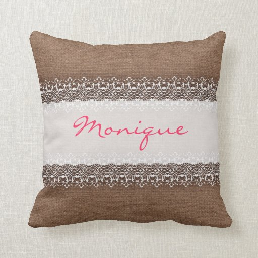 Shabby Chic Burlap Pillows : Shabby Chic Lace on Rustic Burlap - Pink Monogram Throw Pillow Zazzle