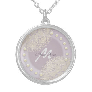 Shabby Chic Lace Pearls Monogram Orchid Necklace