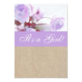 Shabby Chic Lavender Peony Burlap Baby Shower Card