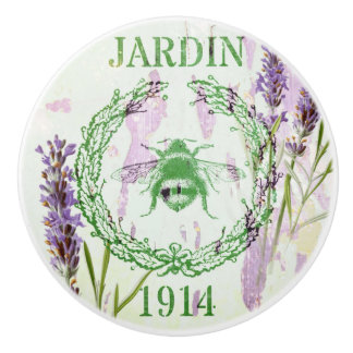 shabby chic lavender vintage bee french country ceramic knob