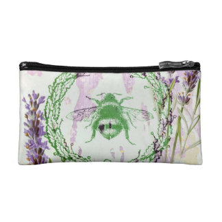 shabby chic lavender vintage bee french country cosmetic bag