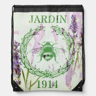 shabby chic lavender vintage bee french country drawstring backpack