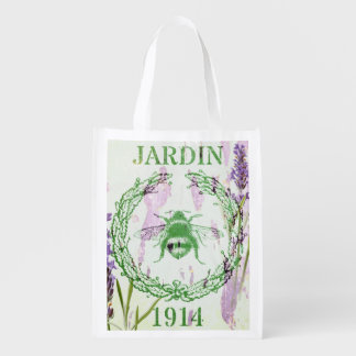 shabby chic lavender vintage bee french country grocery bag