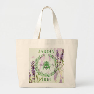 shabby chic lavender vintage bee french country large tote bag