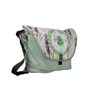 shabby chic lavender vintage bee french country messenger bag
