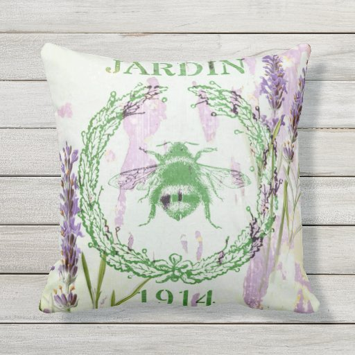 shabby chic lavender vintage bee french country outdoor pillow Zazzle