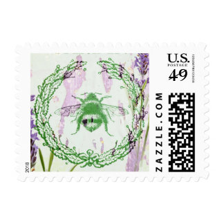 shabby chic lavender vintage bee french country postage stamps