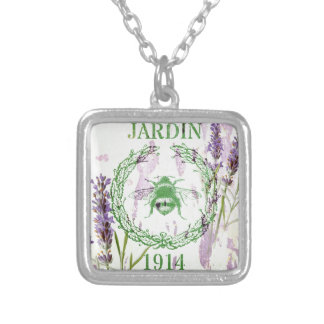 shabby chic lavender vintage bee french country square pendant necklace