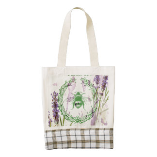 shabby chic lavender vintage bee french country zazzle HEART tote bag