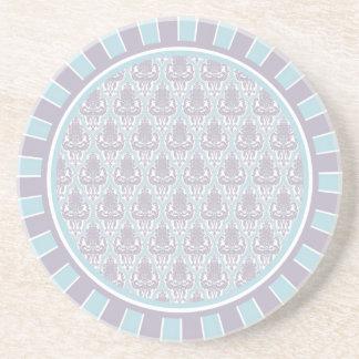 Shabby Chic Lilac & Blue Damask Sandstone Coaster
