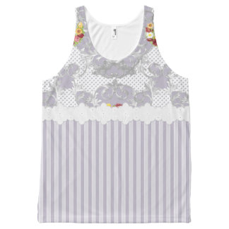 Shabby Chic Lilac Floral Urn Tank Top All-Over Print Tank Top
