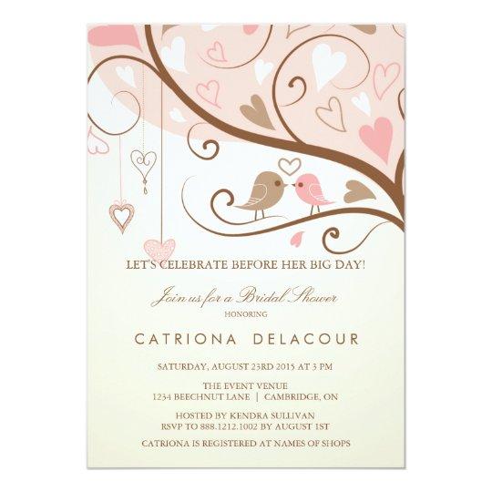 shabby chic love birds bridal shower invitation