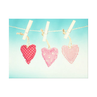 Shabby Chic Love Cushion Washing Line Canvas Gallery Wrapped Canvas
