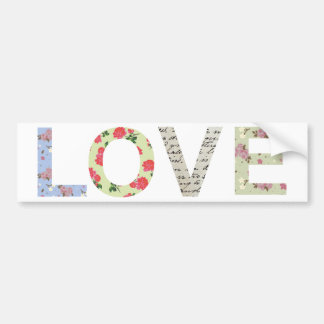 Shabby Chic Love Typography - white Bumper Sticker