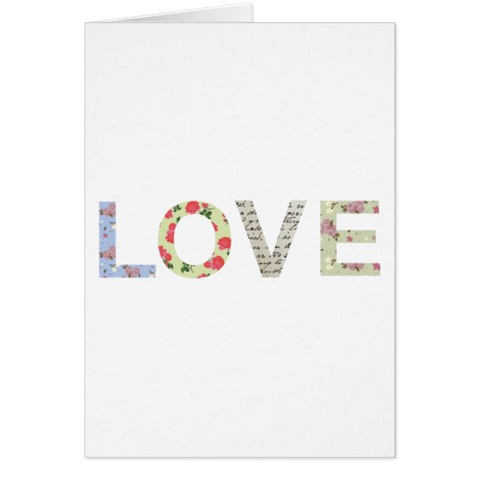 Shabby Chic Love Typography - white Card