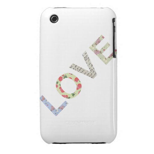 Shabby Chic Love Typography - white iPhone 3 Case
