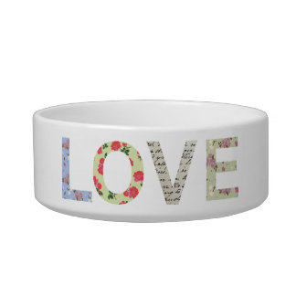 Shabby Chic Love Typography - white Pet Bowl