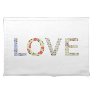 Shabby Chic Love Typography - white Placemats