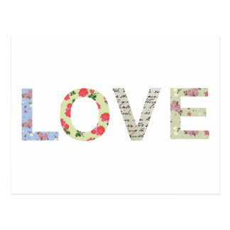 Shabby Chic Love Typography - white Postcard