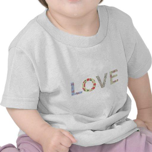 Shabby Chic Love Typography - white T-shirts