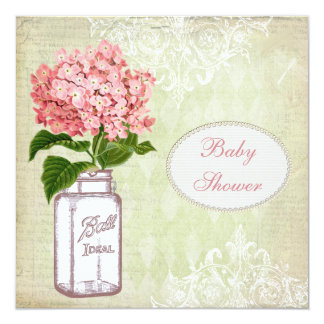 Shabby Chic Mason Jar & Hydrangea Baby Shower Card