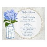 Shabby Chic Mason Jar & Hydrangea Baby Shower Custom Invitations