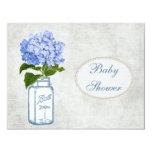 "Shabby Chic Mason Jar & Hydrangea Baby Shower 4.25"" X 5.5"" Invitation Card"